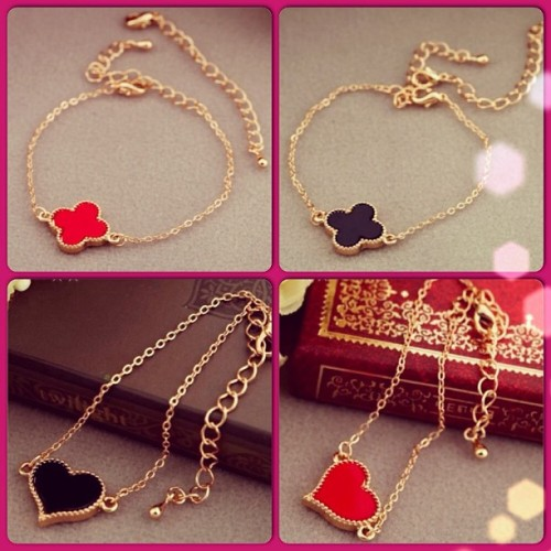 Heart and Clover charm bracelets! ❤❤❤❤❤❤❤❤❤❤