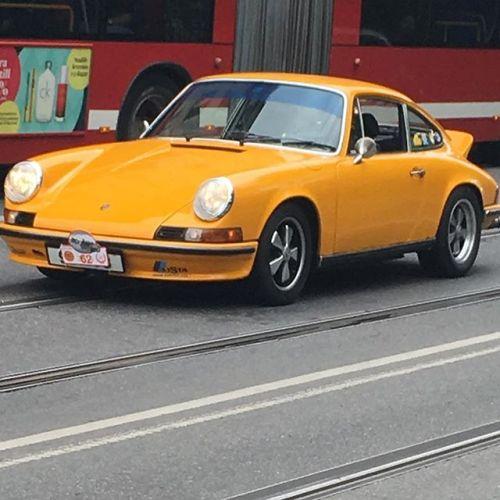 1970's duck tail Carrera Porsche seen in centre of...