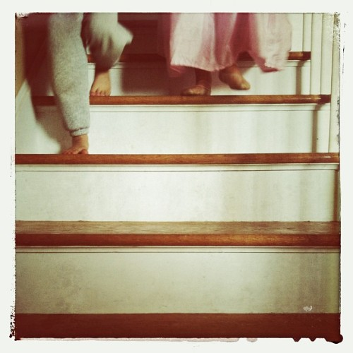 Saturday sister time #kids #children #stairs #snapseed #whatitmeanstobeakid #feet #iphoneonly