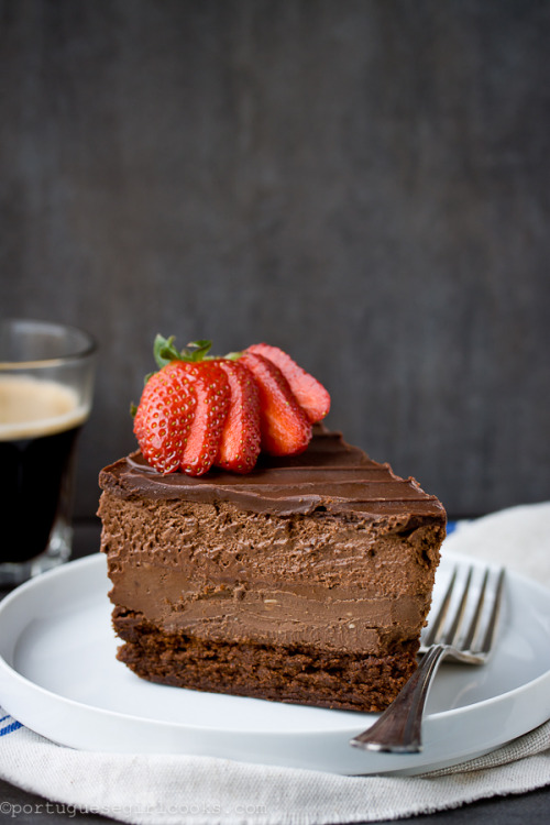 Quadruple Chocolate Mousse Cheesecake by Portuguese Girl Cooks