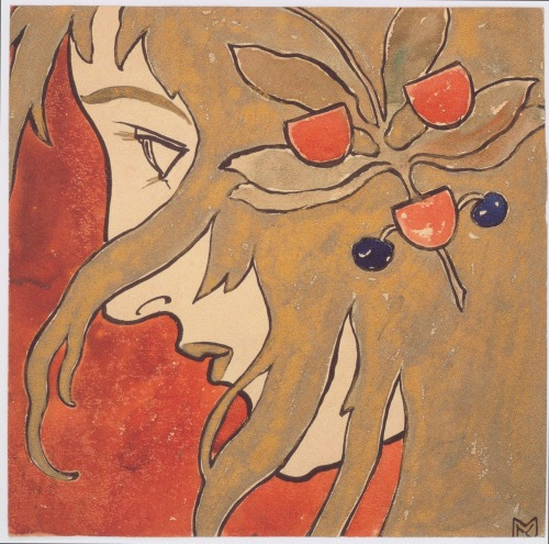 deliriouspov:   Koloman Moser, 1897India Ink and Watercolor on paper