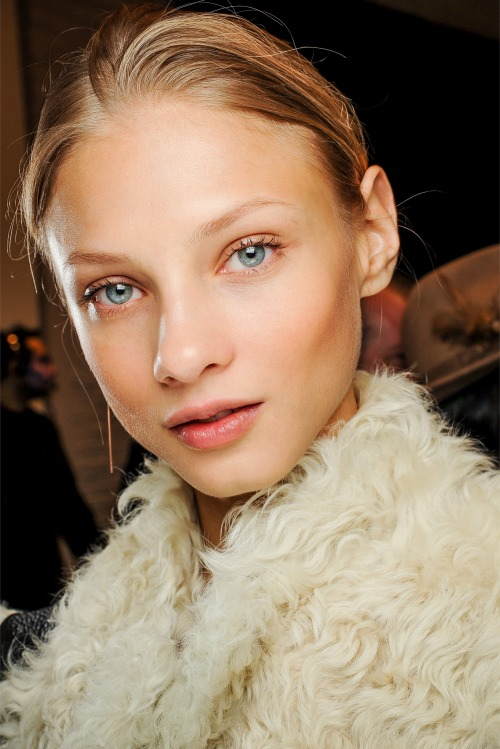 Anna Selezneva backstage at Ralph Lauren Fall 2013