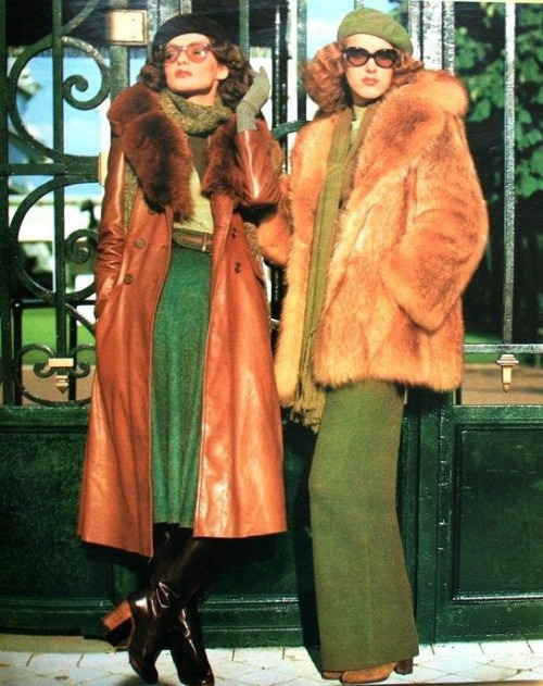 superseventies:  Linda Morand in winter fashions, 1970s.  The fabulous furs and leathers I will be wearing when I no longer have to pay rent because I own a home.