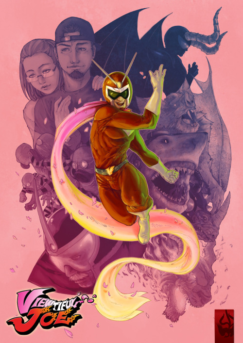 Viewtiful Joe tribute by Paolo Alinea.  It's so common to see the cast rendered with thick lines and heavy, contrasting blackness just like the in-game cel shading graphics.  But they look just as recognizable here, portrayed more realistically.  The monstrous level bosses seem even more imposing.  And that scarf brings everything together.
