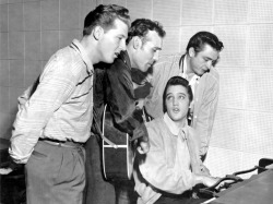 thatcoolbandpic:  Jerry Lee Lewis, Carl Perkins, Elvis Presley and Johnny Cash.