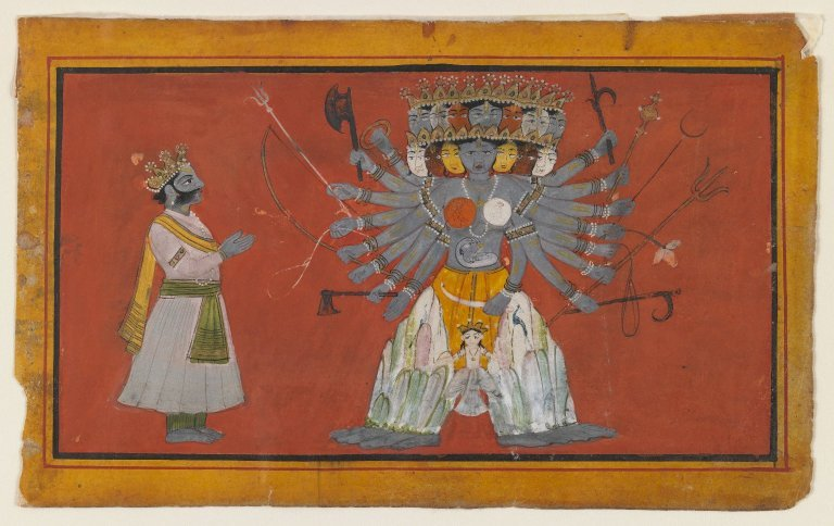 Vishvarupa: The Cosmic Form of Krishna Opaque watercolor and gold on paper, ca. 1820. Via Brooklyn Museum
