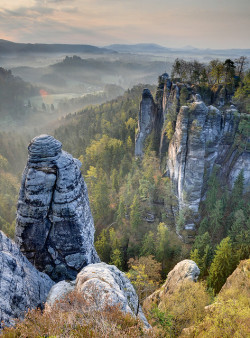 an-adventure-for-jess:  Sandstone Morning (HDR, Saxon Switzerland, Germany) by Xindaan on Flickr.