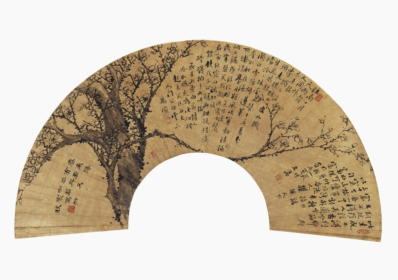 Plum Blossom Fan Late 19th century, Choson Dynasty Chong Tae-gyu (active ca. 1870), Korean Ink on paper via