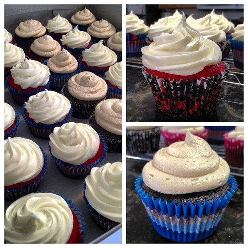 Today's creations are a Red Velvet and a Peanut Butter Chocolate #cupcake. #jadecakes