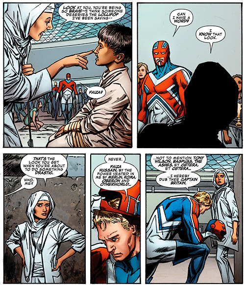 deafmuslimpunx:  invisiblelad:  rainbowdalek:  Okay comics folks I just picked up the Avengers Assemble Age of Ultron tie-in from last week and YOU GUYS A HIJABI LADY SUPERHERO IS NOW CAPTAIN BRITAIN WHY IS NO ONE TALKING ABOUT THIS  Oh awesome. Fazia Hussian has been great in everything I've ever seen her in. I really hope the appearances of Captain Britain and Fazia might mean a revival of their superteam.  a Muslim woman is now Captain Britain? Why isn't anyone talking about this?