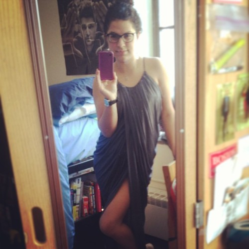 Show a little leg #dress #glasses #confident #bun #legs #smile #eyes #sexy