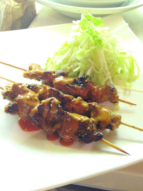 Satay, Indonesian style, with a salad of jicama, cucumber, Chinese cabbage and sesame seeds. Fresh, light and perfect for a warm night.