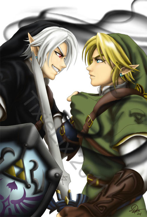 hero-of-hyrule-and-time:  Dark Link vs Link by *TixieLix