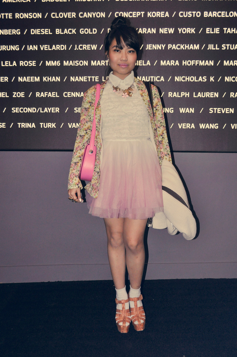 Nicole in Pastels#NYFW Day 1: Topshop blazer & dress | Raoul bag | Jeffrey Campbell shoes