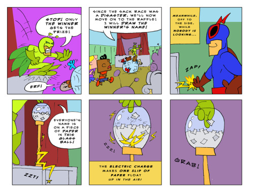 Voter fraud!  This webcomic has it all.  Bug Zapper page 23!