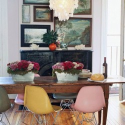 enggirl:  #Interior #design #decor #vintage #fiberglass #chairs #mcm #midcentury #modern #eclectic #mix with #traditional and #rustic incl #natural #shell #lamp #chandelier #paintings #wall