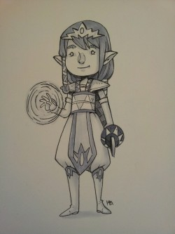 kaymonstar:  Did my own little zelda re-design as protagonist of her own game. The thing in her left hand is supposed to be a hook shot. My internet has been down so i cant post things like regular. So pictures!