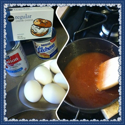 Making some flan de queso and homemade caramel! 🍮💛 #flan #caramel #food #foodie #foodporn #foodstagram #instafood #instafoodie #dessert #hispanic #cooking #baking