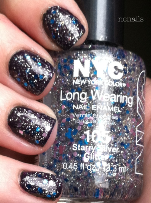 Starry Silver Glitter-NYC  I'm choosing darker base colors to show the glitter better. It has tiny rainbow glitter pieces with blue and pink chunky glitter pieces.