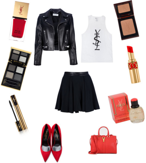 Black and Red ( Yves Saint Laurent ) by chellamichella featuring yves saint-laurent pumpsYves Saint Laurent yves saint laurent / Yves Saint Laurent real leather jacket / Yves Saint Laurent high waist skirt / Yves Saint Laurent yves saint-laurent pumps / Yves Saint Laurent zipper bag / Yves Saint Laurent yves saint laurent / Yves Saint Laurent yves saint laurent / Yves Saint Laurent  lipstick / Yves Saint Laurent  mascara, $36 / Yves Saint Laurent rose perfume, $74 / Yves Saint Laurent yves saint laurent nail polish