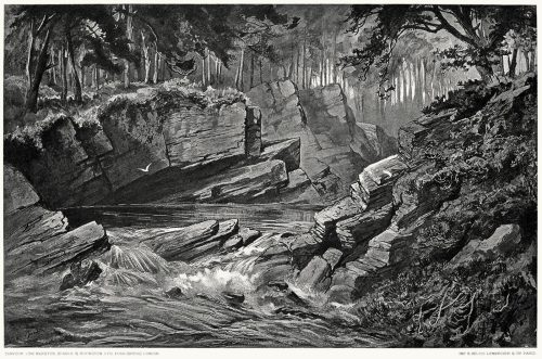 The Moriston River.  Lancelot Speed, from Footsteps of Dr. Johnson, George Birkbeck Norman Hill, London, 1890.  (Source: archive.org)