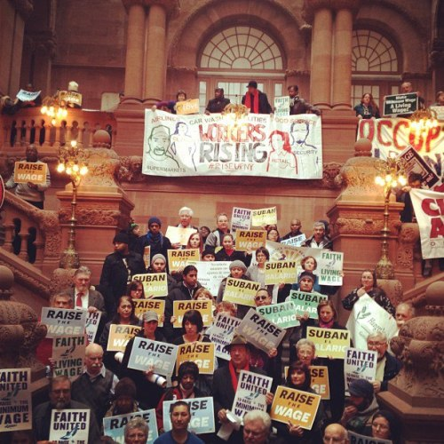 518labor:  Today in Albany, minimum wage workers from across New York gathered at the top of the Million(aire) Dollar Staircase in the Capitol to deliver over 30,000 petition signatures Senate Co-President Jeff Klein (D/R-Bronx) demanding that he raise the wage. Strong Economy for All, RWDSU, NYS AFL-CIO, Citizen Action of New York, United NY, Metro Justice, and members of Occupy Albany were all present. Note: This is just an inaugural post to get some content up some quickly. Check back here for updates.  !!!!