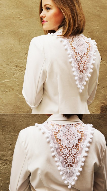 truebluemeandyou:  DIY Easy Lace Inset Jacket Tutorial from Plan B Anna Evers here. You could do this with a tee and I posted two pretty doily back tee shirt tutorials here and here.
