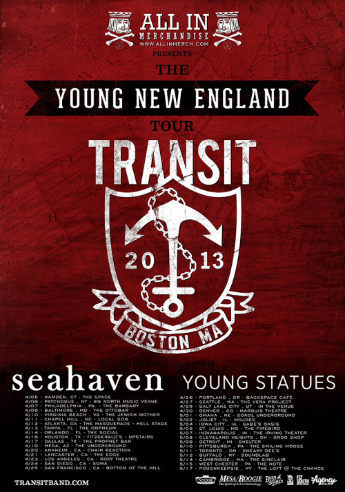 Transit announces a US tour with Seahaven and Young Statues.