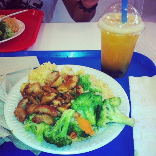 I would find the Asian place at six flags! Chicken teriyaki, fried rice, and mango green tea bubble tea #asian #food #omnomnom