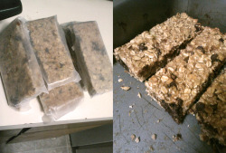 "fashionistagetsfit:  Ive wanted to make home made granola bars for a while! I finally found some time to make these really yummy and moist bars. I altered/replaced some of these ingredients to save money. I bought a small bag of mixed dried fruit instead of raisins and cranberries separately, skipped pumpkin seeds, and replaced sunflower seeds with sesame seeds. I found a hot cereal mix that had flax seeds, wheat germ, and flour in it which was cheaper to buy and use than buying all those ingredients separately. I also added organic chocolate chips. Ingredients: 2 cups of rolled oats 1/2 cup of brown sugar 1 tsp cinnamon 1/4 cup wheat germ 1/4 cup of flax seeds  1 cup of whole wheat flour 1/2 cup raisins 1/4 dry cranberries 2 tbsp sunflower seeds 2 tbsp pumpkin seeds 3/4 tsp salt 1/2 cup honey 1 egg, beaten 1/3 cup melted butter 1/3 cup mashed bananars 2 tsp vanilla extract Grease a 9x13"" baking pan. Combine oats, sugar, wheat germ, flax, cinnamon, flour, raisins, cranberries, seeds, and salt, mix together. In another bowl, whisk honey, egg, melted butter, banana, and vanilla. Add to dry ingredients, mix until well coated and pat into the greased pan. Bake at 350degrees for 25 mins, less time for more chewy bars. Yumyum!"