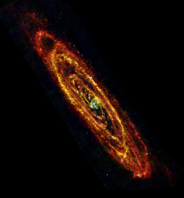 Amazing Photo of Andromeda Galaxy    In this new view of the Andromeda galaxy from ESA's Herschel space observatory, cool lanes of forming stars are revealed in the finest detail yet. Andromeda, also known as M31, is the nearest major galaxy to our own Milky Way at a distance of 2.5 million light-years, making it an ideal natural laboratory to study star formation and galaxy evolution. - Continue reading at esa.int.  Ed note: What happens when galaxies collide?