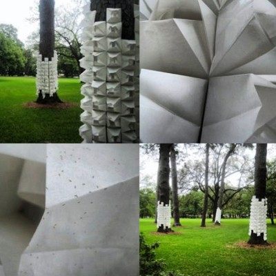 My Spring 2008 temporary paper installation on Rice University campus Houston, Texas (all these large pines were felled by hurricane Ike the following fall)