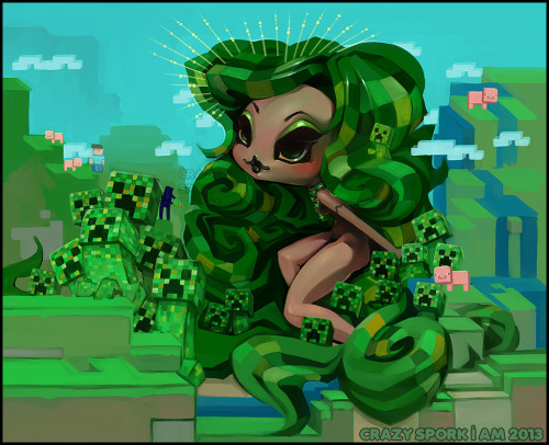 "sporkii:  ""Mother Creeper"" completed :D and set for the Geeky Glamorous art show!  This was such a fun piece to work on; I have been wanting to do a Minecraft inspired piece for a while and this was a great opportunity to work out my idea.  Working on this was a nice break from my other WIPs for Galerie Arludik.  I loved drawing all the different Creepers although having to work out all those little squares made me feel a little stir crazy!    Mother Creeper is available to buy via JapanLA!"