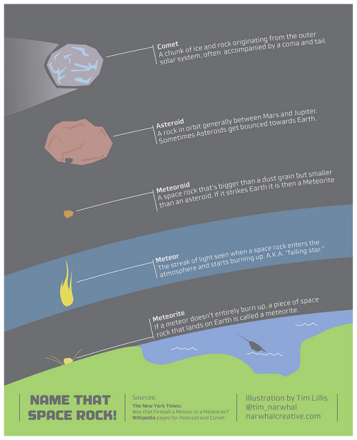 Infographic: What's the Difference Between a Comet, Asteroid and Meteor?http://space-pics.tumblr.com/