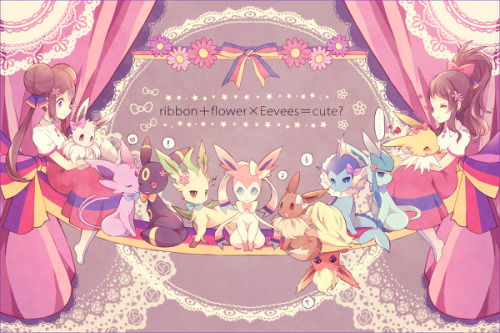 lycoris-aurea:  ribbon+flower×Eevees=???? by 南瓜とるて