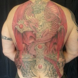 Ann Stokes dragon and cross backpiece complete :) shading under wings still fresh, will post a healed pic soon #tattoo #tattooed #tattooer #tattooist #tattooartist #tattooedguy #tattooedgirl #tattooshop #annstokes #dragon #cross #tattoostudio #art #fantasy #drawing #sketch #redragon #welsh #wales