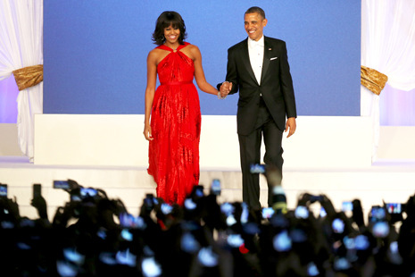 newyorker:   Inaugural dresses are not just casual cultural relics; not for any First Lady, and especially not for Michelle Obama…  Amy Davidson on why the First Lady's inaugural dress is an important subject: http://nyr.kr/XV7BgT Photograph by Mario Tama/Getty.