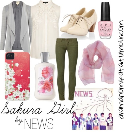 "Look inspired by the song, ""Sakura Girl,"" by NEWS ""Sakura Girl"" by kuri-chan featuring puredkny"