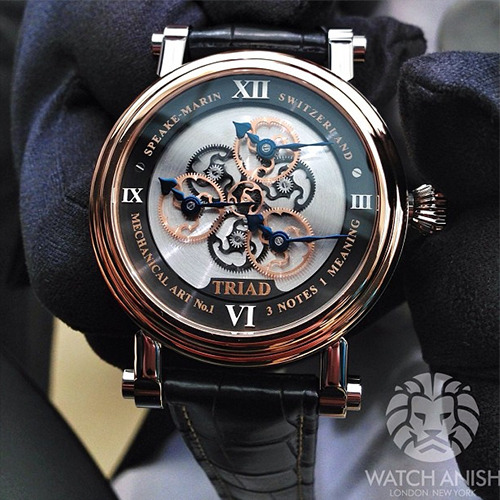 watchanish:  The Speake-Marin Triad; because all good things are three. Rose gold and steel case and will set you back 25,000CHF before tax. 88 pieces will be madeLive from Basel