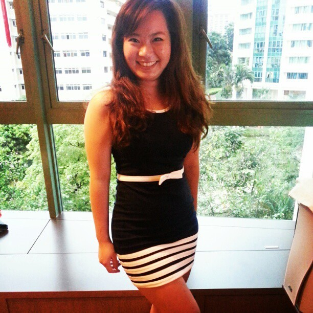 CNY ootd :D darkblue dress with white stripes (:  #pandorabox #cny #dress