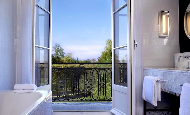 | ♕ |  Bathroom with a balcony - Trianon Palace Hotel  | by © kiwicollection