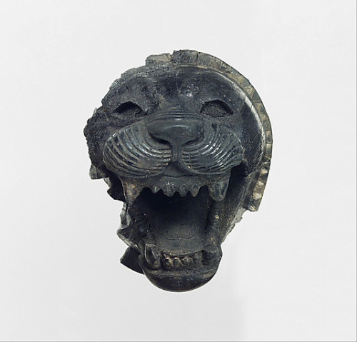 ancientpeoples:  Ivory head of a roaring lion Neo-Assyrian Found in Mesopotamia, Nimrud  9th-8th century BC  Source: The Metropolitan Museum