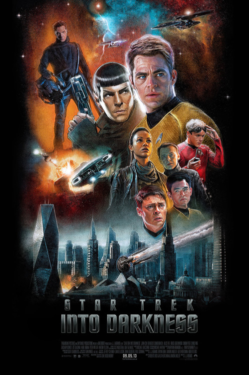 disco-unicorn:  Illustrated one-sheet for Star Trek Into Darkness by Paul Shipper.