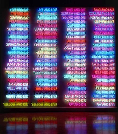 quitecheeky:  chanesko: iheartmyart: Bruce Nauman, One Hundred Live and Die, 1984