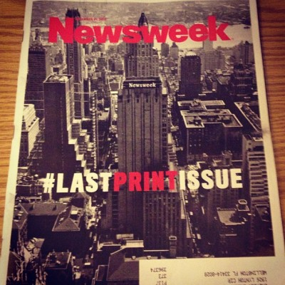 Say goodbye to receiving Newsweek in the mail. #newsweek #lastprintissue #history #goodbye #mail #subscription #digitalage #newyear #december31st2012