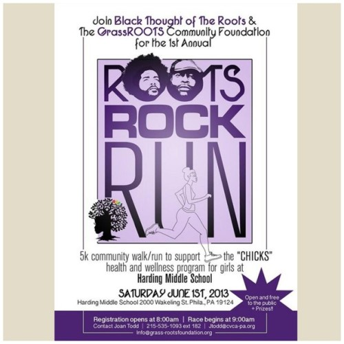 Philly and beyond!! Before The Roots picnic, join us for Roots, Rock, Run 5k community walk/run. June 1st. Free.