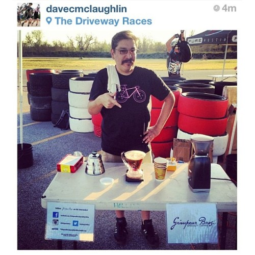 "grimpeurbrosspecialtycoffee:  ""You want some @GrimpeurBros #coffee?"" Our friend & great #ATX photographer @davemclaughlin snapped this fun pic of us #CleverDripper brewing #DamLoop #SingleOrigin @drivewayseries - #Hario #Baratza #grimpeur #BikeATX #cycling #specialtycoffee #pourover #coffeedoping #squaready  Selfie… Check out more pics from week 1 of Austin's Driveway Series Crit. DISCLOSURE #1: I am a Co-Founder and one of the Grimpeur Bros.  DISCLOSURE #2: I am a dork."