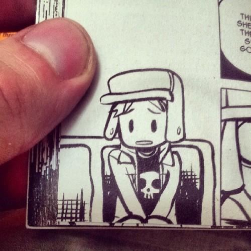 Three guesses what I'm reading! #dorkyhat #springjacket #bus #comic #bestcomicever #skull #kawaii