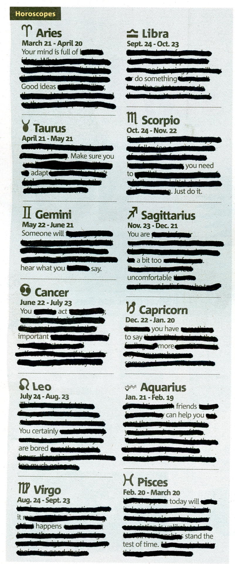 HOROSCOPE - APRIL 11, 2013