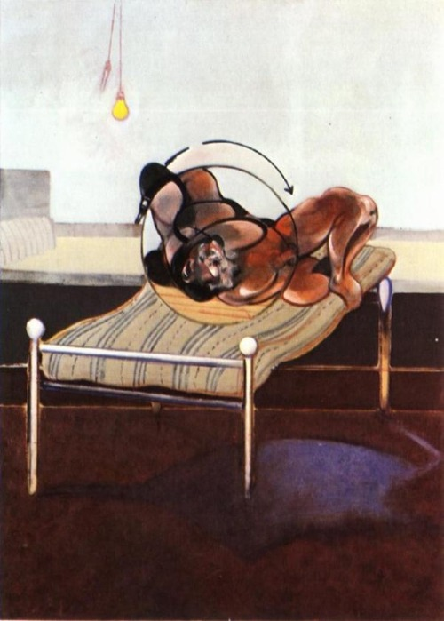 sashastergiou:  Francis Bacon - triptych with figures in a bed left panel 1972.